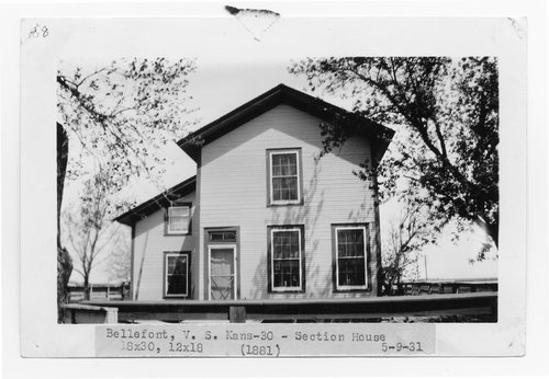 Atchison, Topeka & Santa Fe Railway Company section house, Bellefont, Kansas - Page