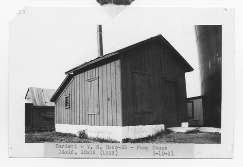 Atchison, Topeka & Santa Fe Railway Company pump house, Burdett, Kansas - Page