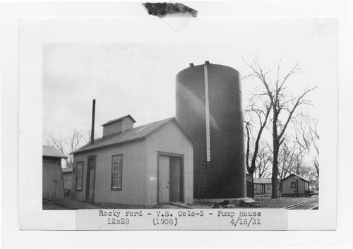 Atchison, Topeka & Santa Fe Railway Company pump house and water tank, Rocky Ford, Colorado - Page