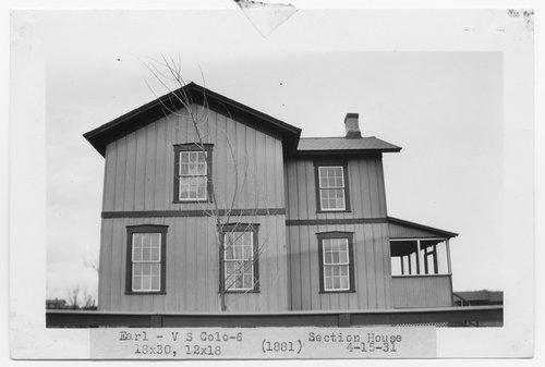 Atchison, Topeka & Santa Fe Railway Company section house, Earl, Colorado - Page
