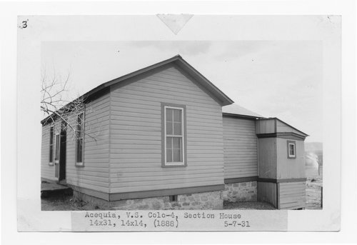 Atchison, Topeka & Santa Fe Railway Company section house, Acequia, Colorado - Page