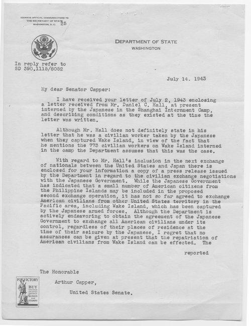 Cordell Hull to Senator Arthur Capper - Page