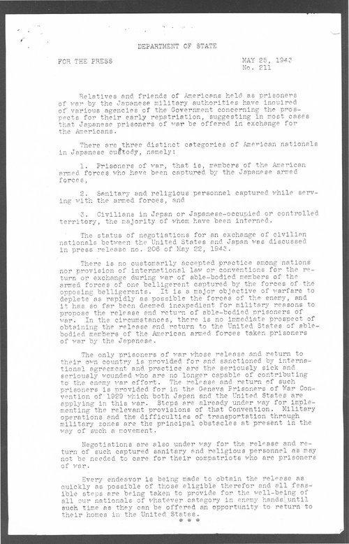 Prisoners of war press release - Page