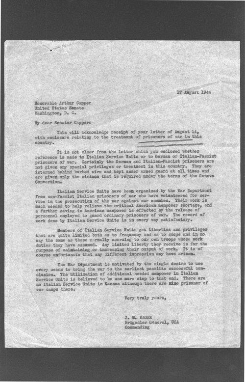 Brigadier General J.M. Eager to Senator Arthur Capper - Page