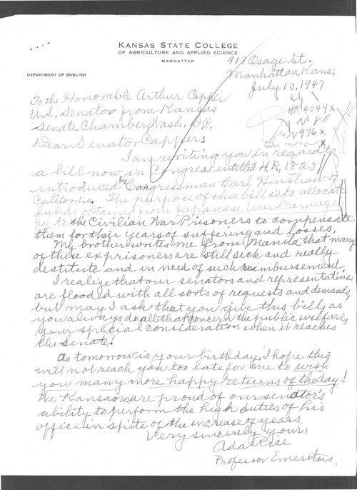 Dr. Ada Rice to Senator Arthur Capper - Page