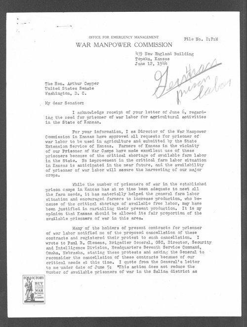 Edward Franzke to Senator Arthur Capper - Page
