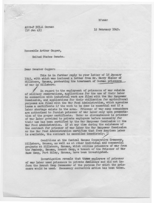 Major General J.A. Ulio to Senator Arthur Capper - Page