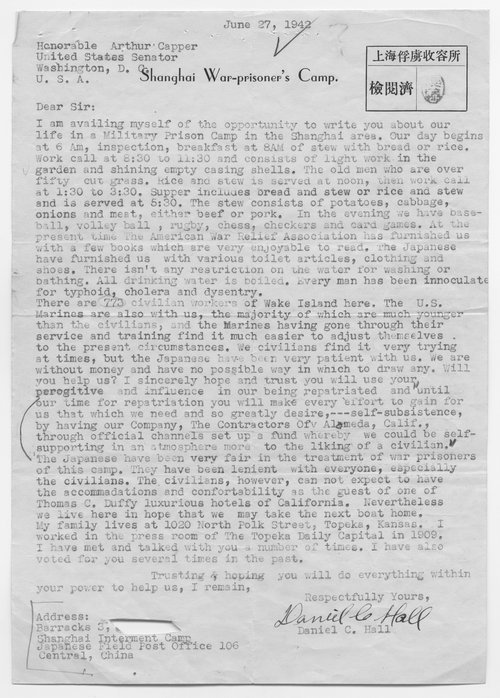 Daniel Hall to Senator Arthur Capper - Page