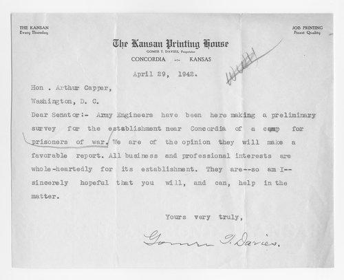 Gomer Davies to Senator Arthur Capper - Page