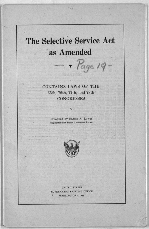 The Selective Service Act as amended - Page