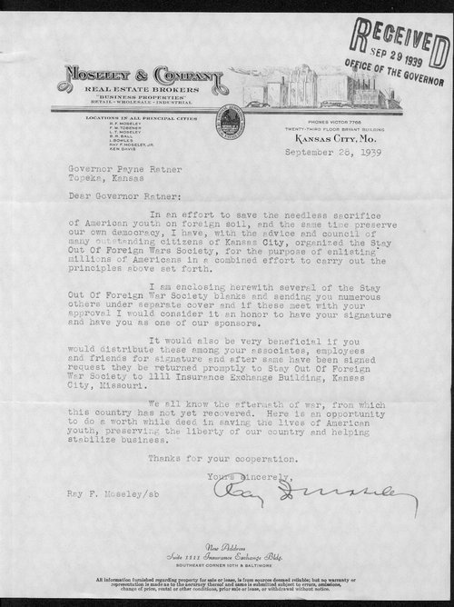 Ray Moseley to Governor Payne Ratner - Page