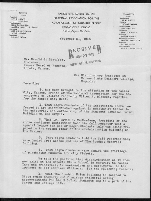 Elmer Jackson to Harold Stauffer - Page