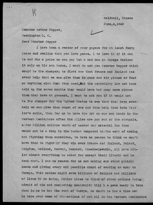 E.L. Metz to Arthur Capper - Page