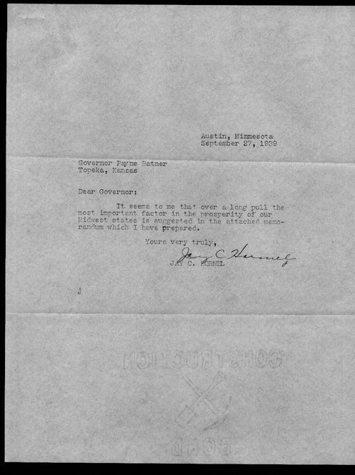 Jay Hormel to Governor Payne Ratner - Page