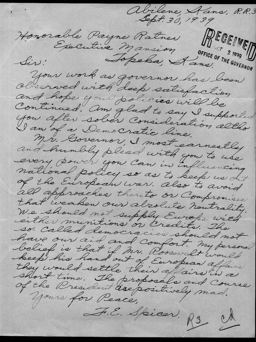 F.E. Spicer to Governor Payne Ratner - Page