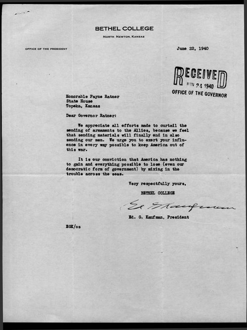 Ed Kaufman to Governor Payne Ratner - Page