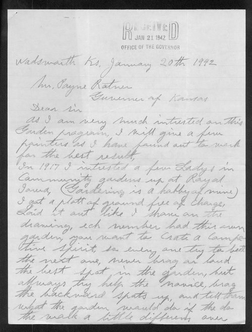Carl Fredin to Governor Payne Ratner - Page
