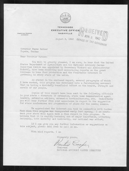 Governor Prentice Cooper to Governor Payne Ratner correspondence - Page