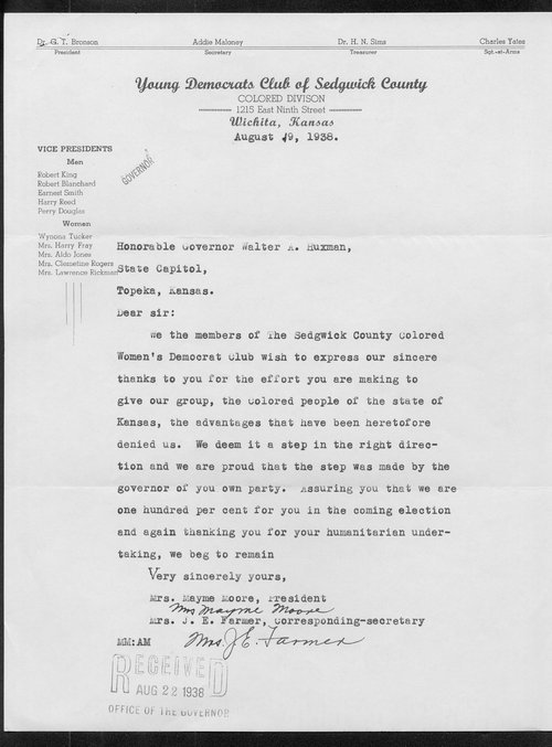 Mayme Moore and J.E. Farmer to Governor Walter Huxman - Page