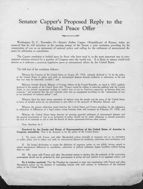 Senator Capper's proposed reply to the Briand Peace Offer - Page