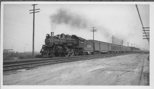 Atchison, Topeka & Santa Fe steam engine 1420 and passenger train - Page