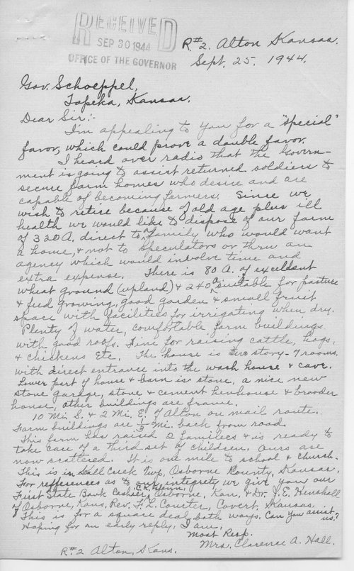 Mrs. Clarence Hall to Governor Andrew Schoeppel - Page