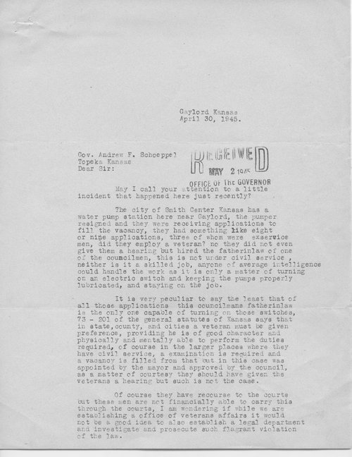 Ira Howard to Governor Andrew Schoeppel - Page