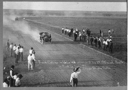 Image of first auto race in Rush County, 1911