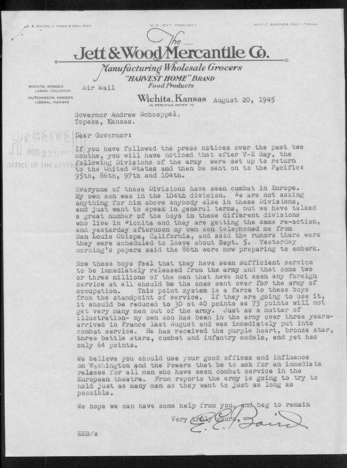 E. E. Baird and Governor Andrew Schoeppel Correspondence - Page