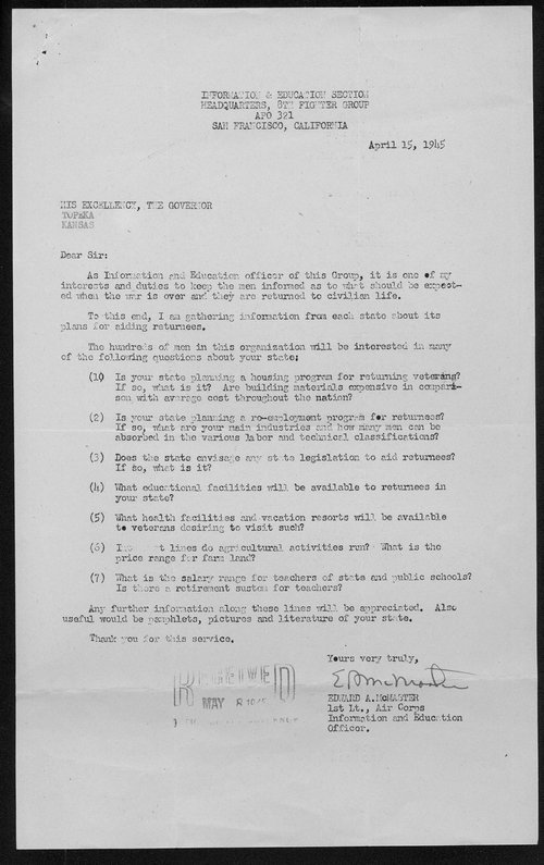 Edward McMaster to Governor Andrew Schoeppel - Page