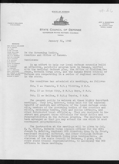 Governor Payne Ratner to the governing bodies of the counties and cities of Kansas - Page