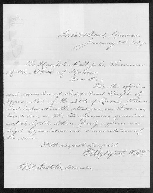 F. Lightfoot to Governor John P. St. John - Page