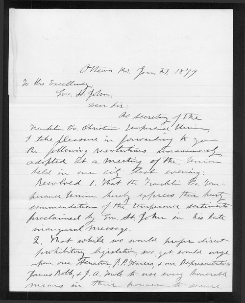 Philetus Foles to Governor John St. John - Page