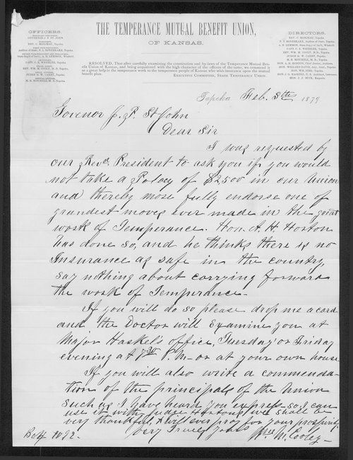 William M. Cooley to Governor John St. John - Page
