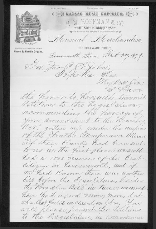 H.C. Fields to Governor John St. John - Page