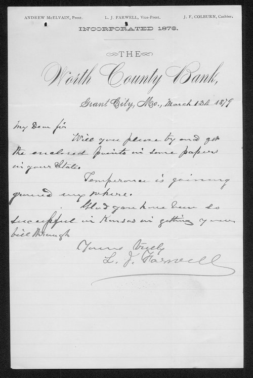 L.J. Farnwell to Governor John St. John - Page