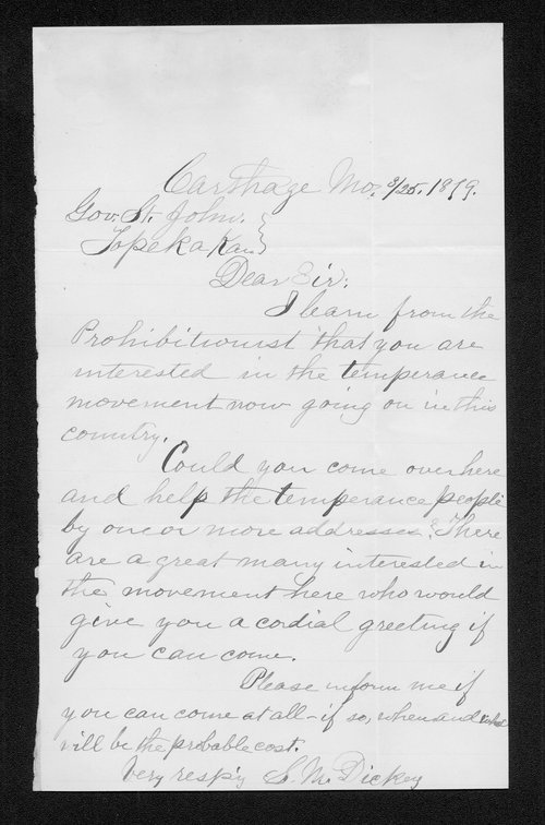 S.M. Dickey to Governor John St. John - Page