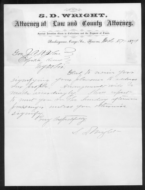 S.D. Wright to Governor John St. John - Page