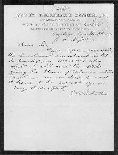 J.R. Detwiler to Governor John St. John - Page