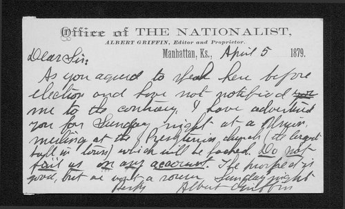 Albert Griffin to Governor John St. John - Page