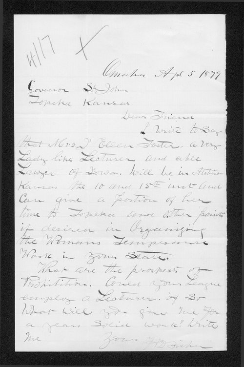 H.D. Fisher to Governor John St. John - Page