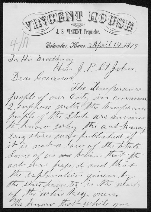 J.S. Vincent to Governor John St. John - Page