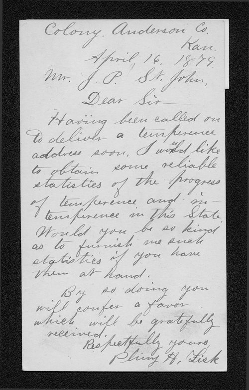 Plimy H. Fisk to Governor John St. John - Page