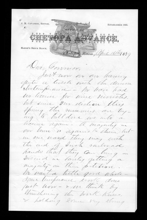 J.M. Cavaness to Governor John St. John - Page