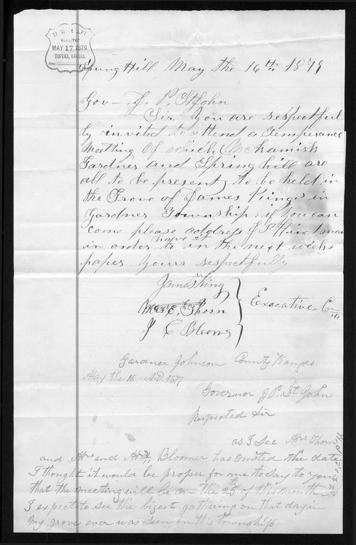James King to Governor John St. John - Page