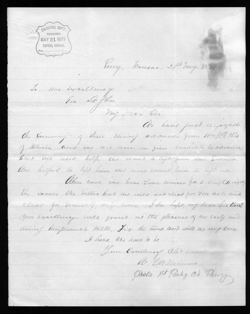 W.E. Williamson to Governor John St. John - Page