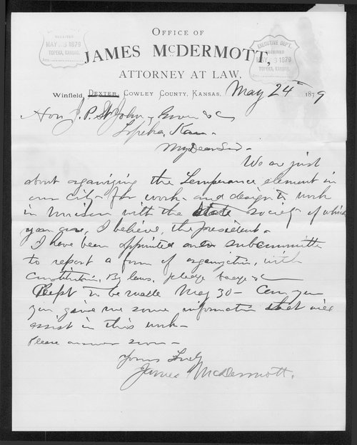 James McDermott to Governor John St. John - Page