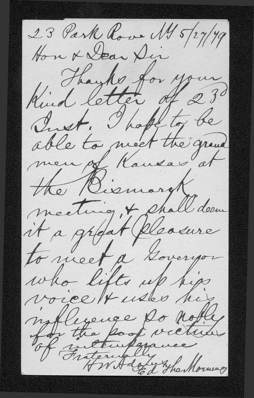 H.W. Adams to Governor John St. John - Page