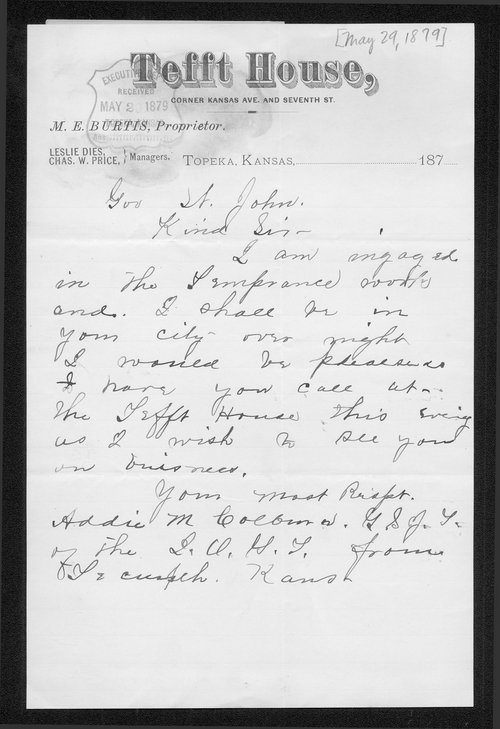 Addie Colburn to Governor John St. John - Page