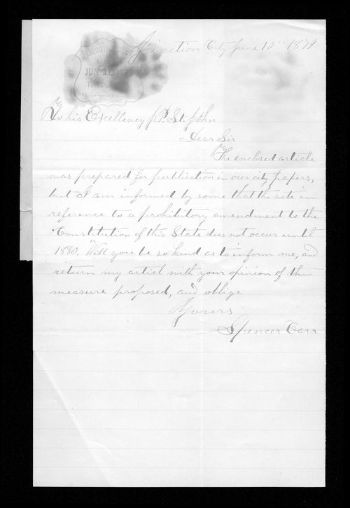 Spencer Carr to Governor John St. John - Page